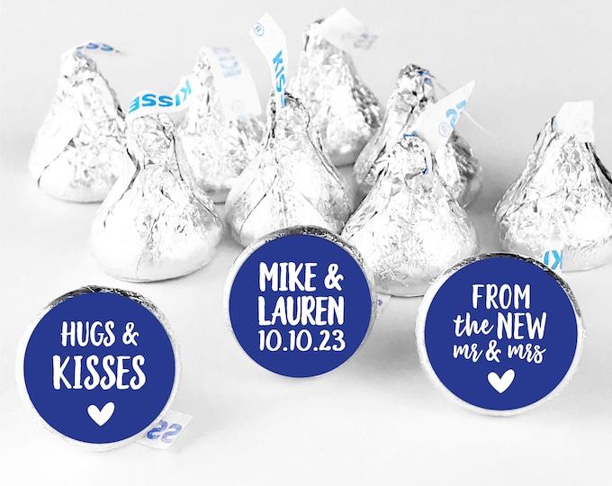 Hugs and kisses hershey kiss wedding round thank you stickers, Hershey kiss labels, Wedding Hershey Kisses