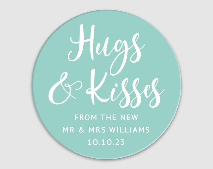 Personalized wedding thank you favors labels stickers, Hugs and kisses wedding favor stickers, Mr and mrs thank you stickers