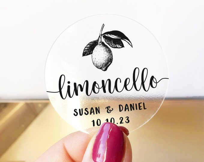 Personalized custom thank you wedding name stickers labels, Round favor stickers, Lomoncello bottle favor tags, Wedding gift stickers