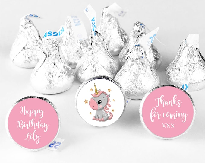 Thank you for coming to my party unicorn birthday stickers, Birthday hershey kiss sticker, Personalised hershey kiss labels