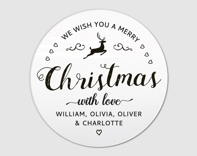 Merry Christmas Custom Stickers Gift Tags Round Christmas Signs Name Tags Jam Jar Labels Custom Tags