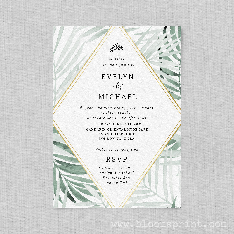 Greenery wedding invitation digital Tropical wedding invitation