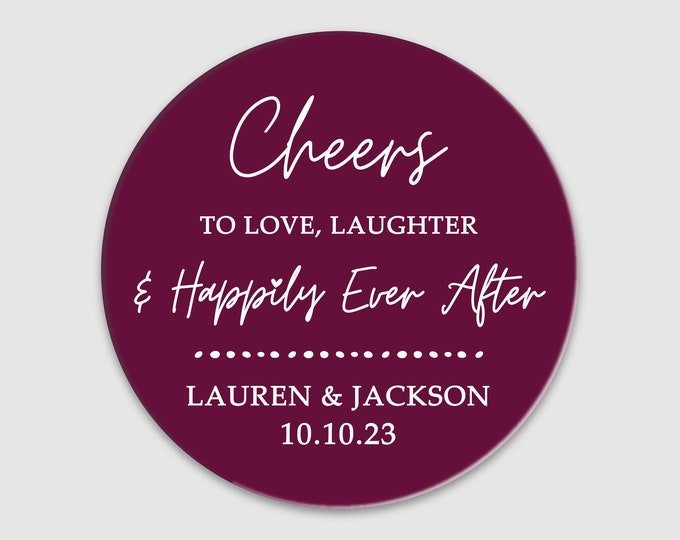 Custom name wedding thank you clear labels stickers, Personalized Wedding sticker labels, Cheers to love party favor stickers