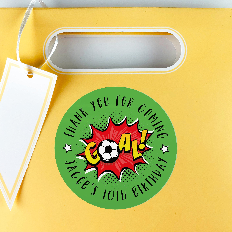 Football Birthday Party Favor Stickers Kid Happy Sticker Custom Round Gift