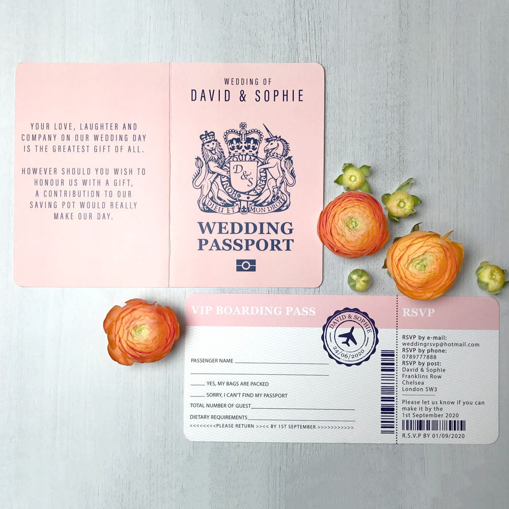 Boarding pass wedding invitation, Passport wedding invitations ...