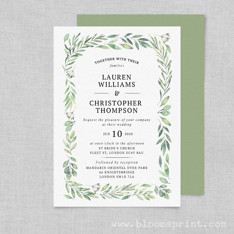 Greenery wedding invitation Watercolor wedding invitation printable