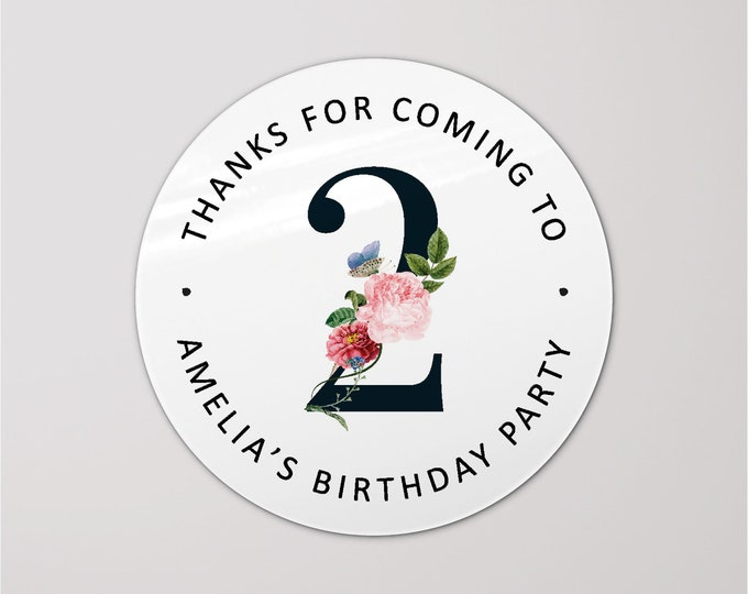Round happy birthday thank you labels stickers, Thank you for coming to my party stickers, Goodie bag labels