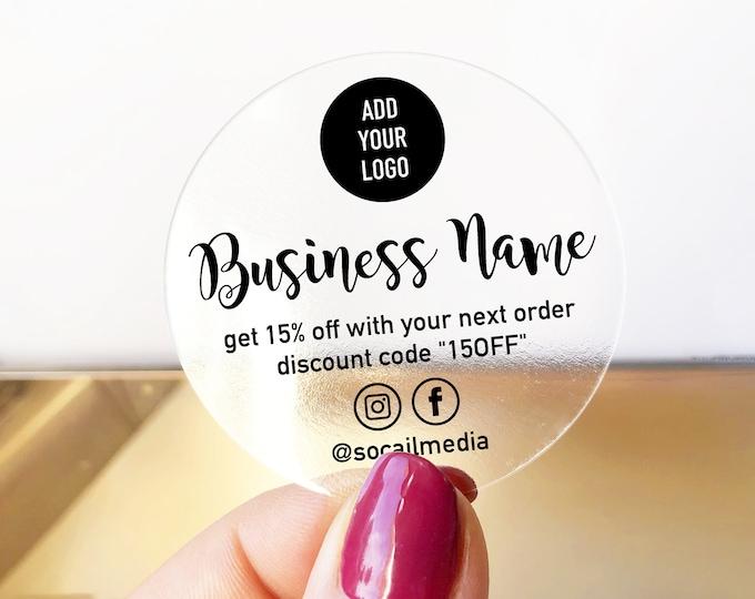 Custom business logo branding clear stickers labels, Clear Business Logo Labels, Packaging Supplies for Etsy Shops
