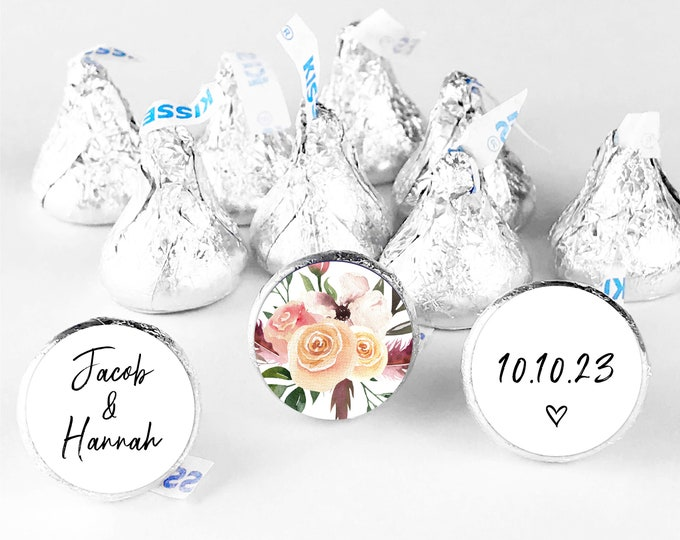Custom wedding thank you favors stickers labels, Hershey kisses sticker, Hershey kiss wedding sticker, Custom stickers by Blooms