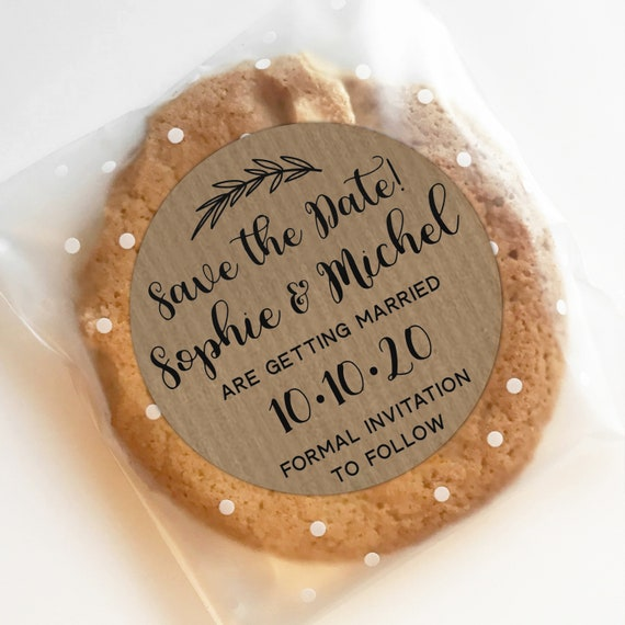 Kraft save the date sticker labels, Custom stickers by Blooms