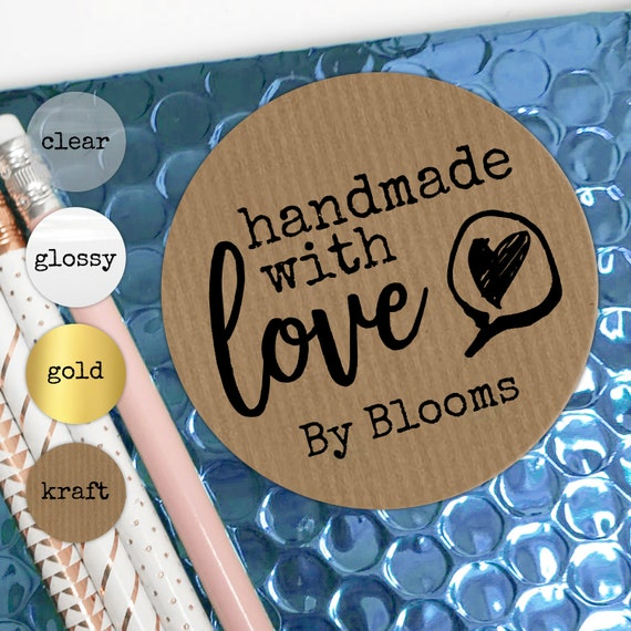 Handmade with love stickers sheet, Custom sticker labels, Personalised sticker, Made with love stickers, Round kraft paper stickers