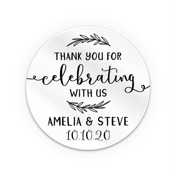 Clear Personalised Stickers, Thank you wedding stickers, Transparent stickers, Custom clear sticker, Custom labels, See through stickers