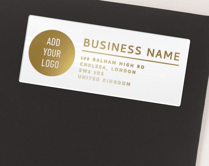 Custom business return address clear labels stickers, Transparent business labels stickers  - 30 Stickers per Sheet