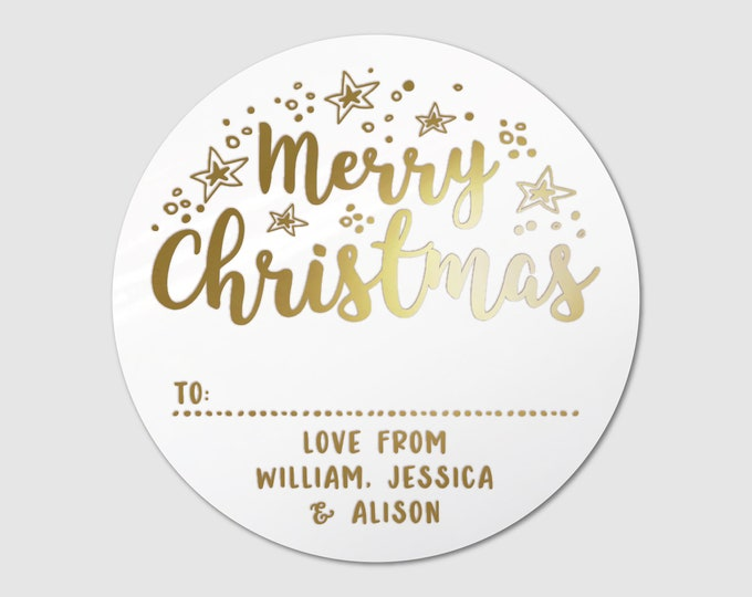 Merry Christmas gift tags custom name round labels stickers, Happy christmas stickers, Christmas gift tags stickers personalized