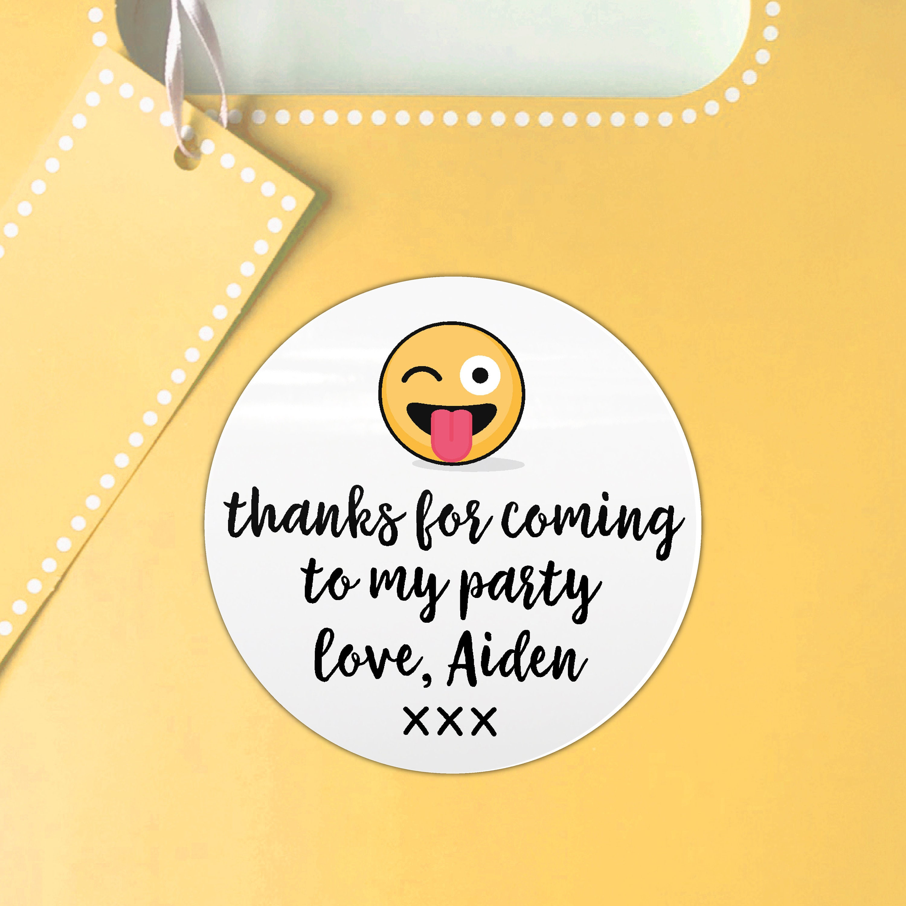 Emoji birthday party favor stickers kid party favor happy birthday party favor sticker custom birthday sticker round gift sticker