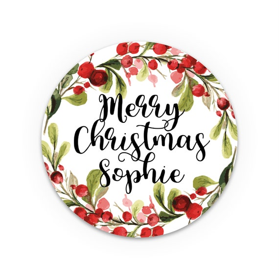 Personalised christmas stickers, Round gift stickers, Holiday stickers, Custom stickers labels, Round label stickers, Christmas label
