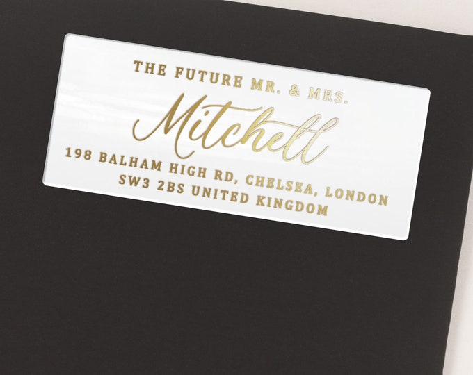 Future mr and mrs return address calligraphy sticker, Future mr mrs label, Engagement sticker  - 30 Stickers per Sheet