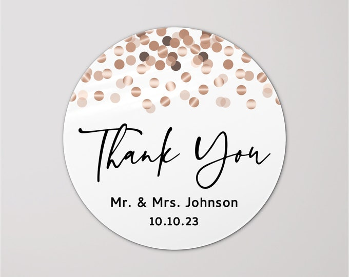 Custom wedding birthday thank you stickers tags, Personalized party favor stickers, Graduation thank you labels