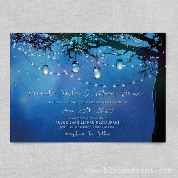 Fairy lights wedding invite template, Fairytale wedding invitations UK, Navy blue wedding invitations, Rustic tree wedding invitation, A5