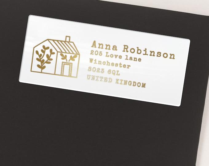 Personalized custom return address transparent labels stickers, Personalised gift, Return address label  - 30 Stickers per Sheet