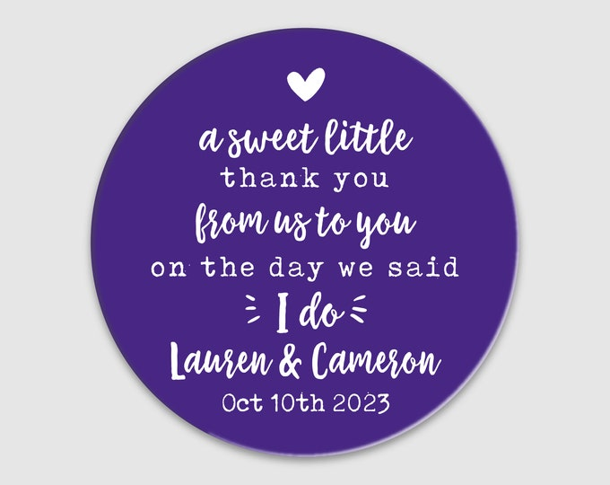 Custom wedding a sweet thank you labels stickers, Round love is sweet stickers for wedding favors, Personalised thank you labels