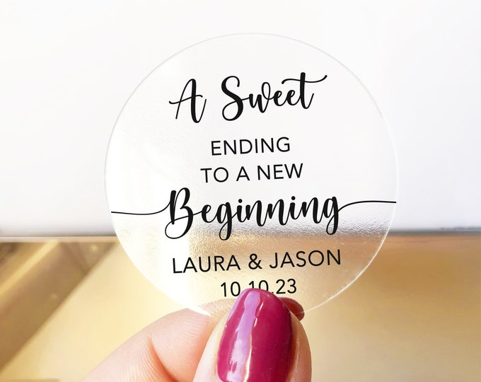 Custom wedding favor gifts thank you clear round stickers, A sweet ending to a new beginning stickers