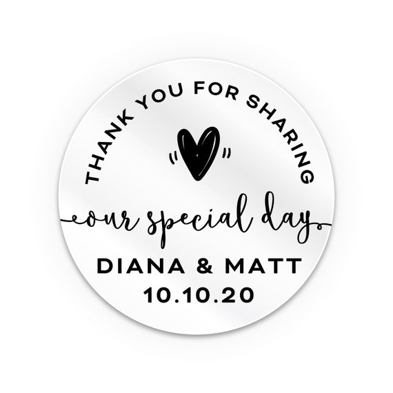Transparent personalized stickers, Wedding thank you stickers, Wedding favour stickers personalised, Favour bag stickers, Mason jar stickers