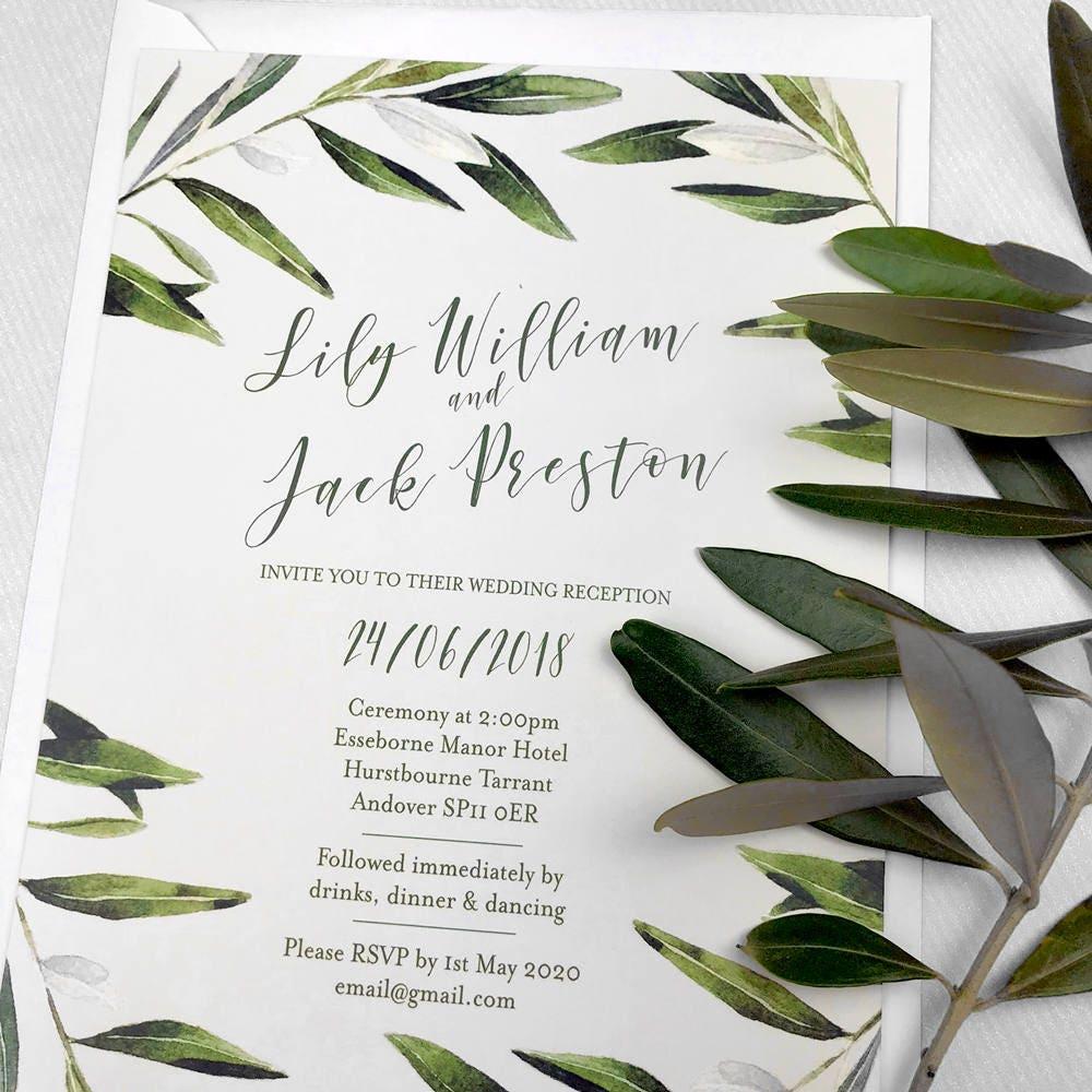 Olive leaf wedding invitation, Rustic bohemian wedding invitations ...