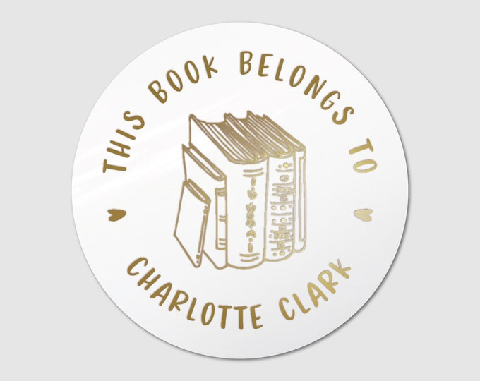 Custom book lover gift book teacher name stickers, Personalized sticker sheet pack, Book club decal