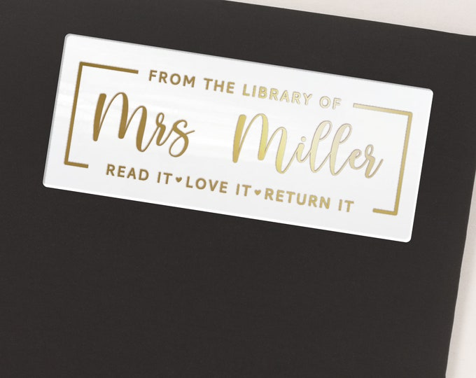 Custom name teacher book lover gift stickers sheet pack,  Personalized name stickers, Gifts for readers  - 30 Stickers per Sheet