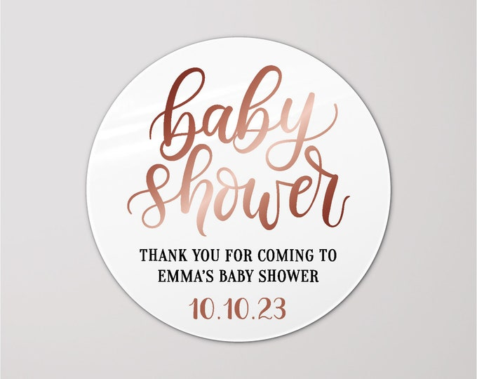 Baby shower custom thank you favors stickers, Thank you for coming to my baby shower stickers, Personalized party sticker