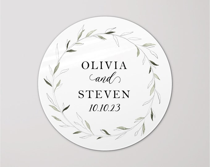 Wedding gifts round thank you labels stickers sheet, Personalized sticker for wedding party gifts, Custom name stickers