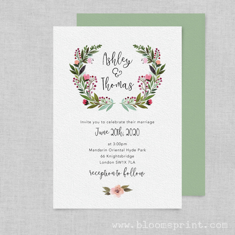 Watercolour wedding invitation printable, Rustic wedding invitation ...