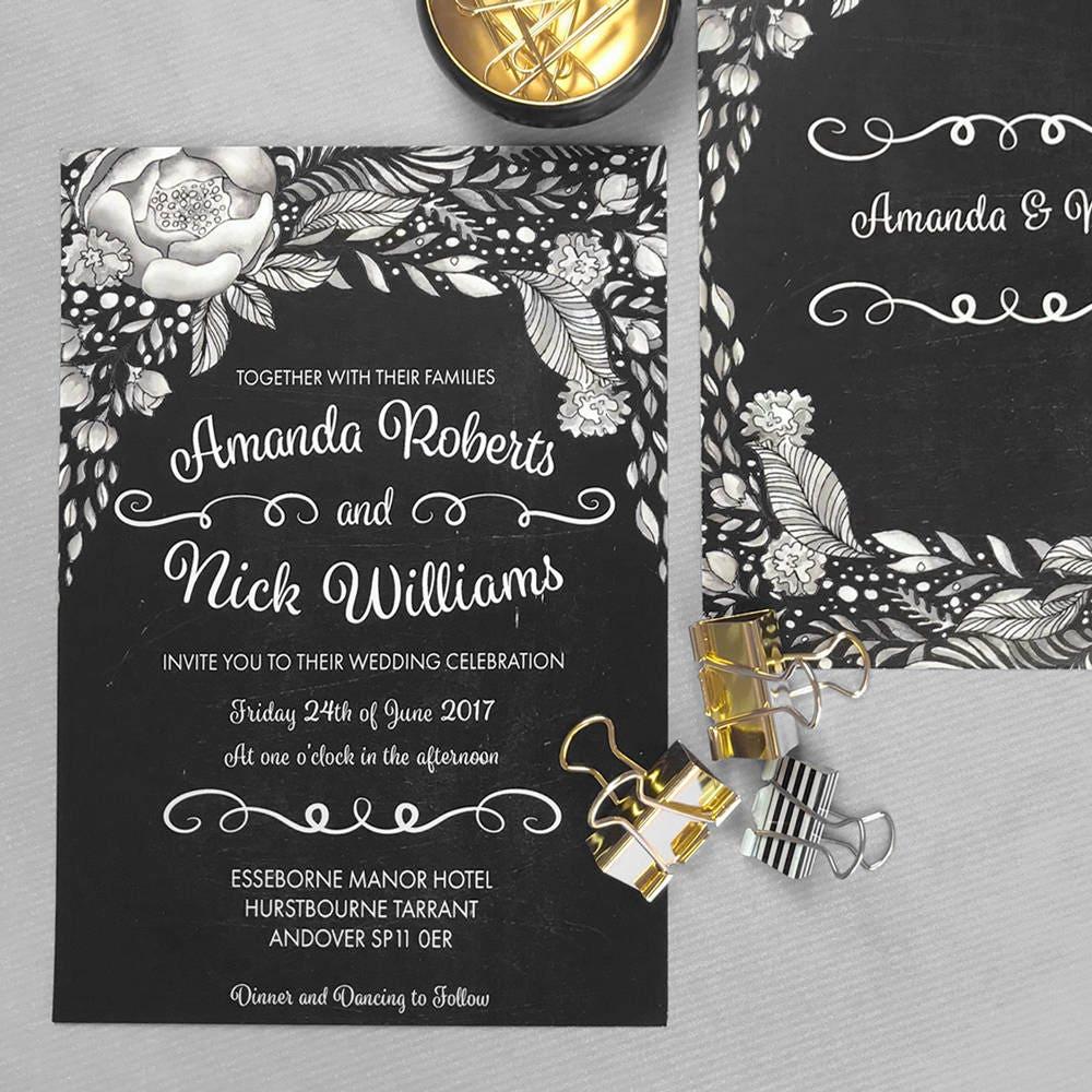Boho chic wedding invites Chalkboard wedding invitation template