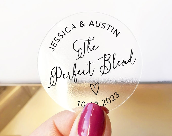 Perfect blend wedding favors clear coffee labels stickers sheet, Coffee tea gift stickers, Wedding thank you stickers