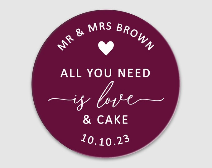 Custom name wedding favor thank you clear labels stickers, All you need is love and cake stickers, Personalized cake favor sticker