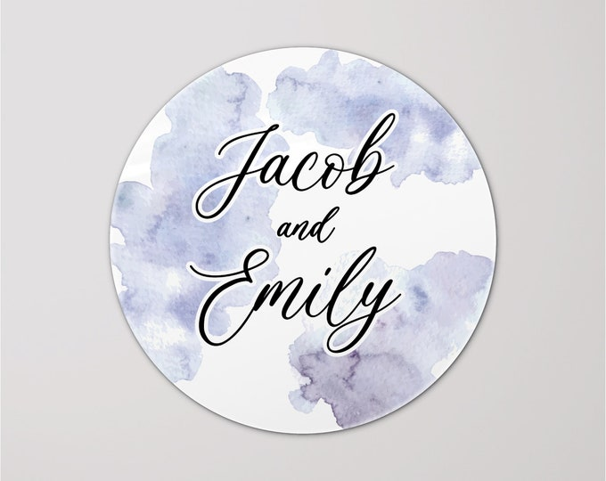 Personalized sticker wedding custom name labels stickers, Wedding favor stickers, Thank you round stickers for party gifts