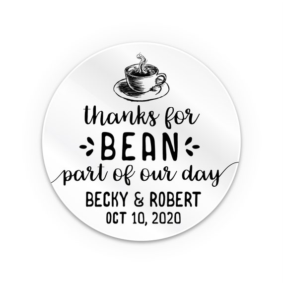 Transparent personalised stickers thanks for bean here sticker, Custom wedding stickers seal, Wedding stickers personalized for favors