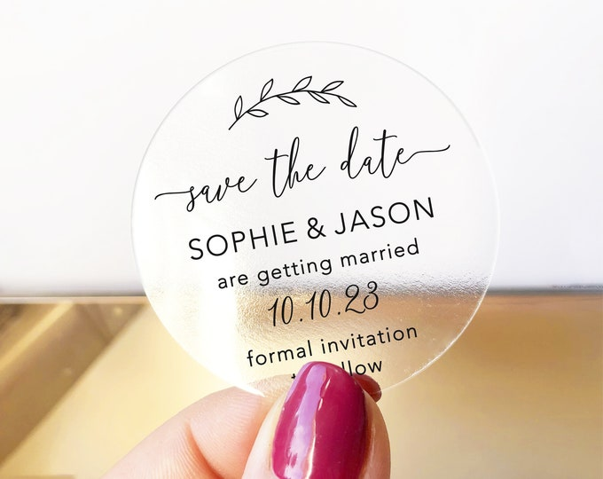 Save change the date custom wedding round labels stickers, Personalized sticker labels, Save the Date round envelope stickers