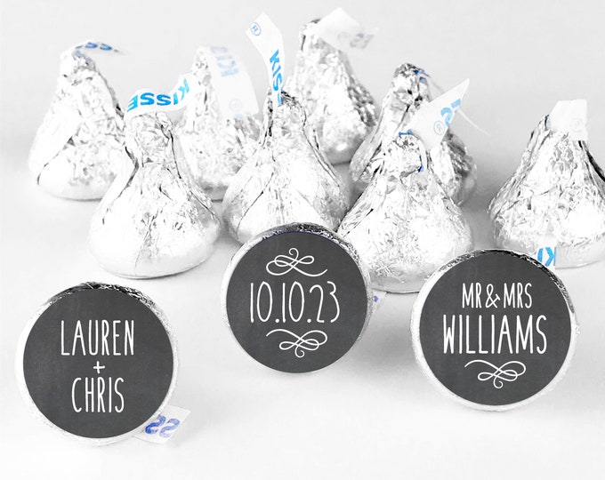Custom wedding thank you favors stickers hershey kiss labels, Hershey kiss wedding sticker, Custom stickers by Blooms