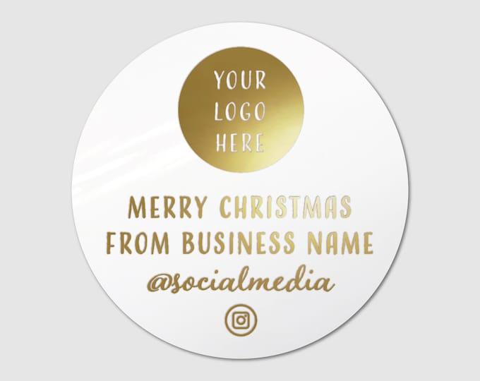 Modern Custom Christmas Business Thank You Stickers Pack Merry Christmas Stickers, Merry Christmas Gift Stickers, Xmas custom Stickers