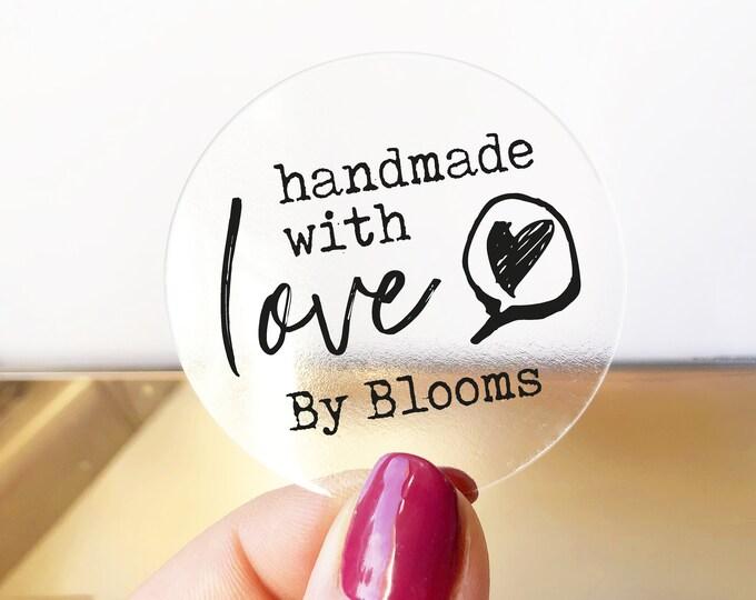 Handmade with love stickers sheet, Custom sticker labels, Personalised sticker, Made with love stickers, Round kraft paper stickers