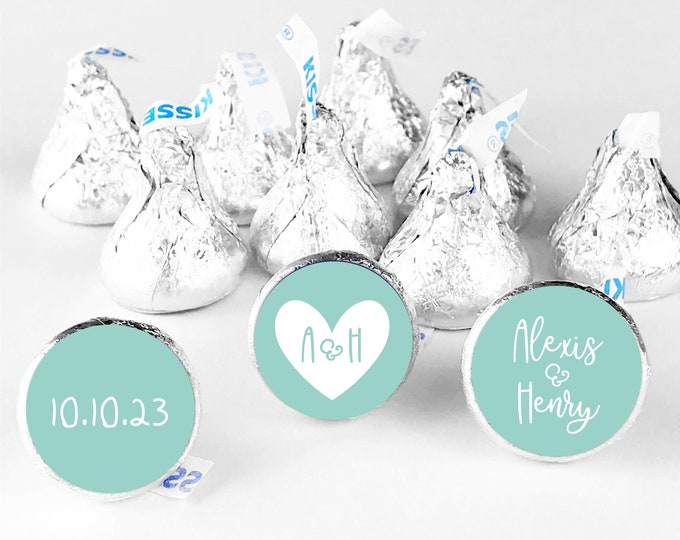 Wedding hershey kiss candy round stickers hershey kisses, Wedding kiss sticker for wedding kisses, Wedding candy table labels