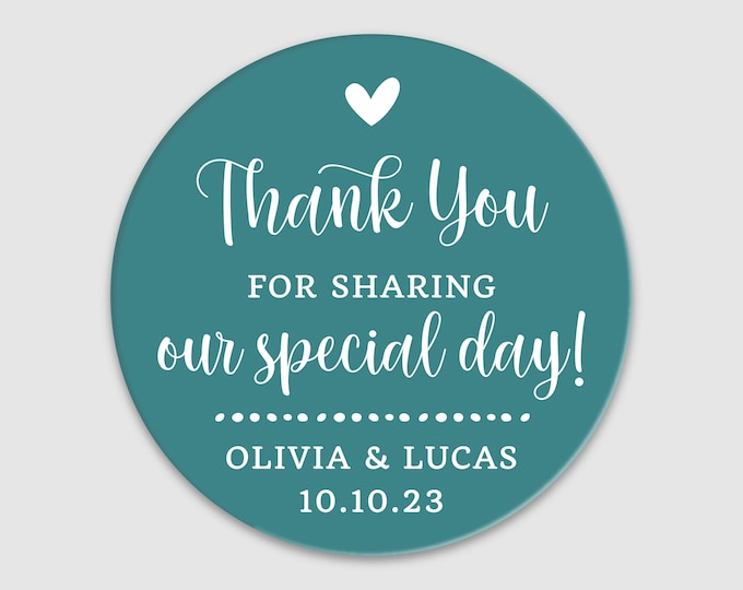 Personalized wedding thank you favor stickers, Thank you round labels,  Custom wedding favor labels, Party favor round stickers