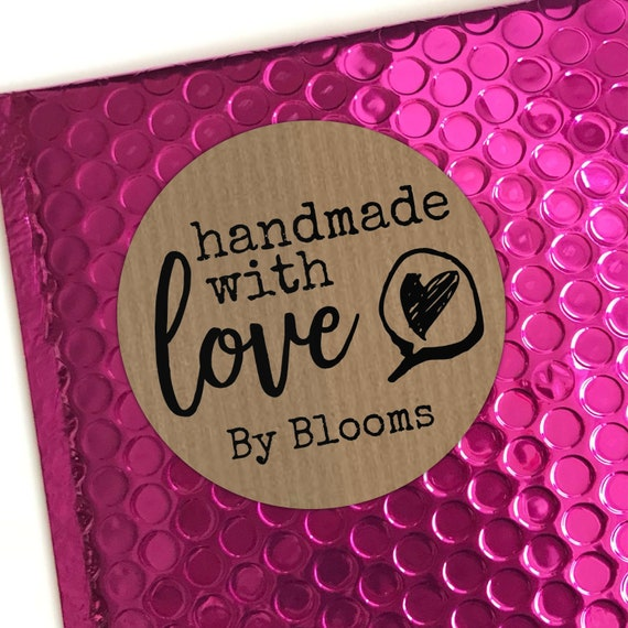 Handmade with love kraft labels business labels stickers, Round stickers for envelopes, Kraft paper sticker labels, Circle stickers custom