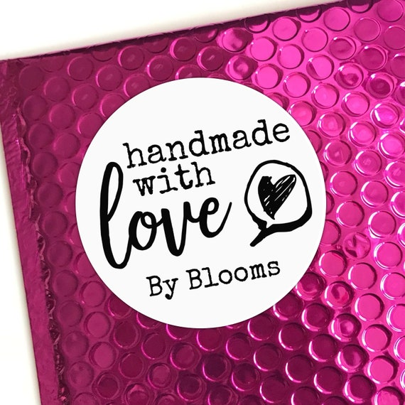 Handmade with love stickers for business, Round packaging stickers for envelopes