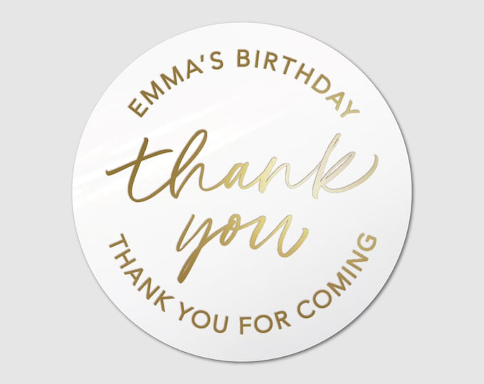Happy birthday party thank you stickers thank you tags, Personalized party favor stickers, Custom round stickers, Thank you for coming