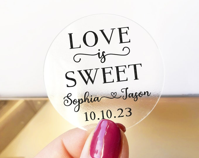 Love Is Sweet custom name wedding thank you labels stickers sheet, Wedding favors stickers, Personalised transparent wedding sticker