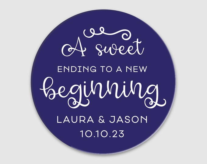 Custom wedding graduation thank you labels stickers,  Personalized wedding sticker, A sweet ending to a new beginning stickers