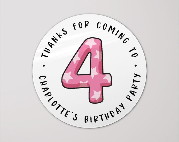 Personalized happy birthday thank you circle labels stickers, Round gift stickers, Thank you birthday stickers